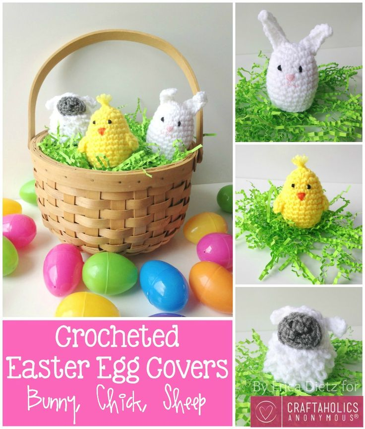 Crocheted Easter Egg Covers || Free crochet patterns for Bunny, Chick, and sheep. Cute Easter egg idea.