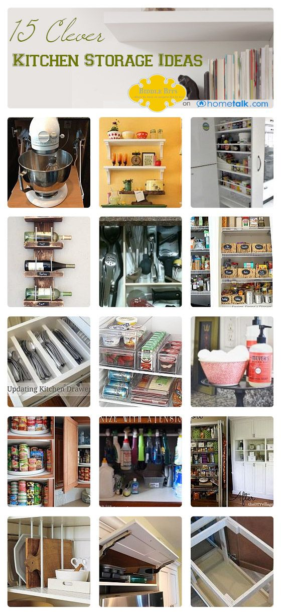 15 Clever {DIY} Kitchen Storage Ideas | curated by 'Biddle Bits' blog!
