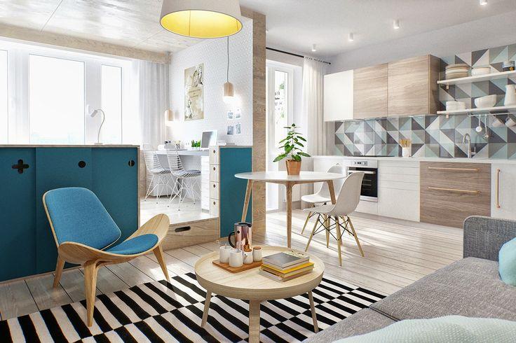 Vista general del departamento. La elección de los muebles y los revestimientos, con impronta escandinava.