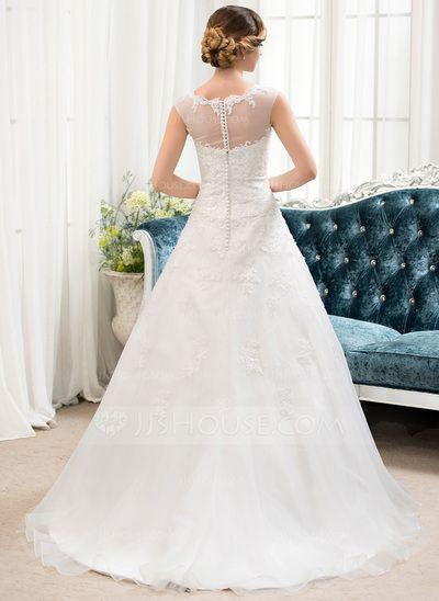 Duchesse-Linie U-Ausschnitt Sweep/Pinsel zug Organza Tüll Brautkleid mit Perlen verziert Pailletten (002054358)