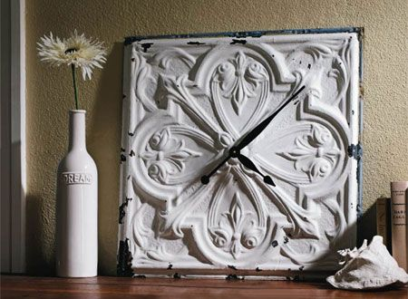 homedzine plastic ceiling tile becomes vintage clock