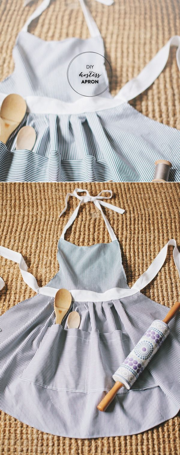 how to make a cute hostess apron. DIY! An apron with a pocket for spoons!