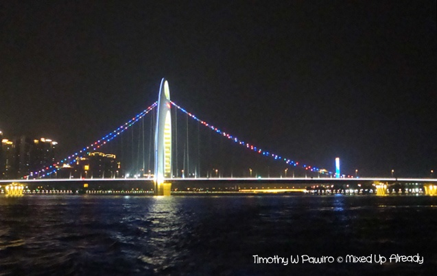 This is Pearl River bridge, one of the bridges that we passed during a night river cruise in Guangzhou, China. For more story please go to: http://wp.me/p1VkQt-CI