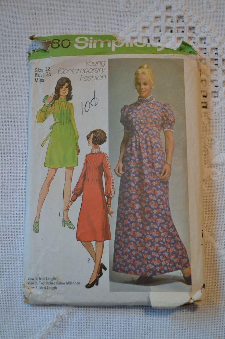 Vintage Simplicity 9080 Pattern Misses Junior Misses Petite Dress Size 12 DIY Sewing Crafts PanchosPorch