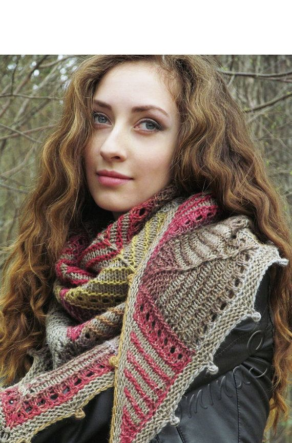 Knit shawl handmade boho shawl knit wool shawl от TominasName
