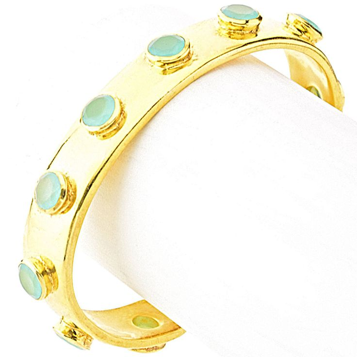 Cuff and Stone Mens Gold Aqua Calcite  Row of Stone CuffAll stones are individually cut making them unique in colour and character.Each cuff is hand made and set with all natural gemstones.Size & Fit- Circumference: 17.5cm / 6.89 in- Width: 1.3cm/ 0.51 in- Slips on Details & Care- Solid Bras