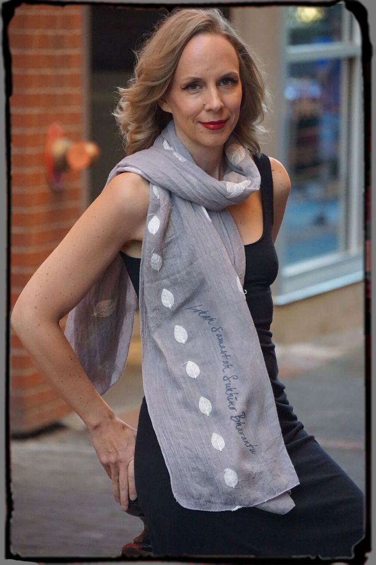 SOFT GRAY EMBROIDERED SCARF with Lokah Samastah Mantra. From Squeezed Yoga Clothing . http://squeezed.ca/shop/soft-gray-embroidered-scarf-with-mantra