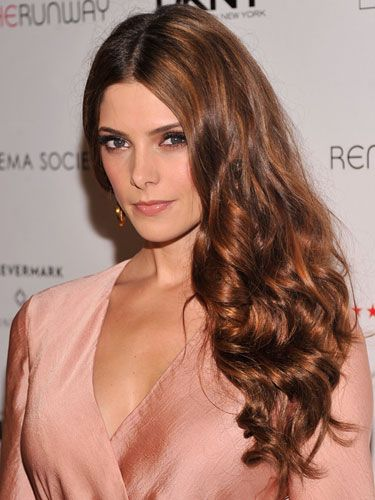 Long hair: Ashley Greene:  Add copper gold to med brown hair