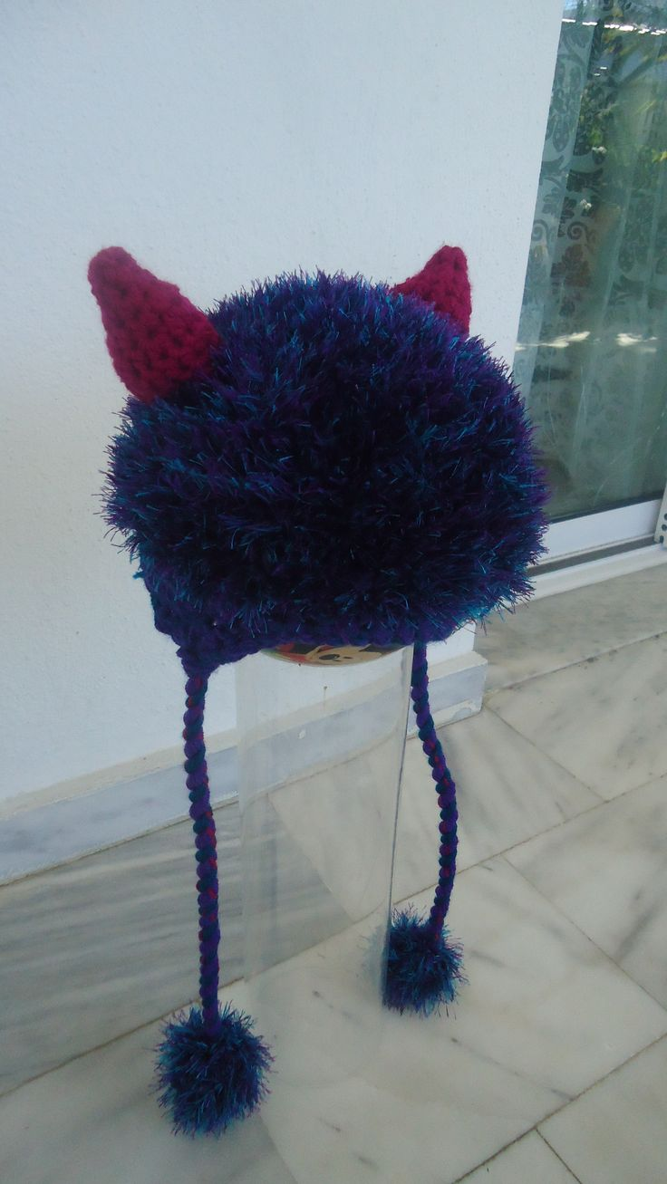 handmade crochet furry devil beanie made to order facebook/toucanbeanies