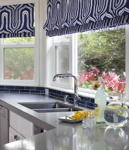 Blue Geometric Roman Shade And Blue Subway Tiles Kitchen