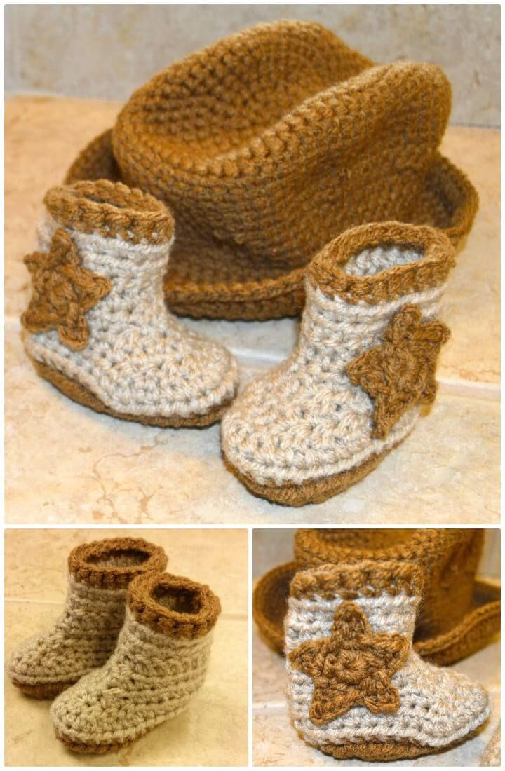 Free Crochet Cro-Shayley Newborn Cowboy Hat And Boots Pattern - 7 Free Crochet Cowboy Boots Patterns - DIY & Crafts