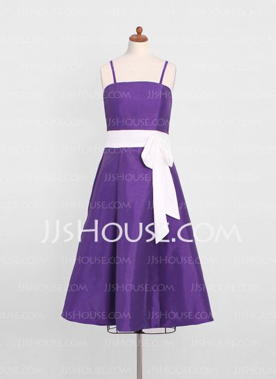 Junior Bridesmaid Dresses - $89.49 - A-Line/Princess Tea-Length Taffeta Junior Bridesmaid Dress With Sash (009022499) http://jjshouse.com/A-Line-Princess-Tea-Length-Taffeta-Junior-Bridesmaid-Dress-With-Sash-009022499-g22499