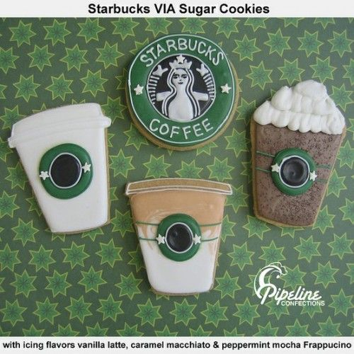 I am surely on a roll with corporate decorated sugar cookies. I just had to share these with you. Pipeline Confections decorated the cutest Starbucks Beverage Sugar Cookies. Each Sugar Cookie is flavored with festive coffee shop flavor icings, such as vanilla latte, caramel macchiato, and peppermint mocha Frappucino.