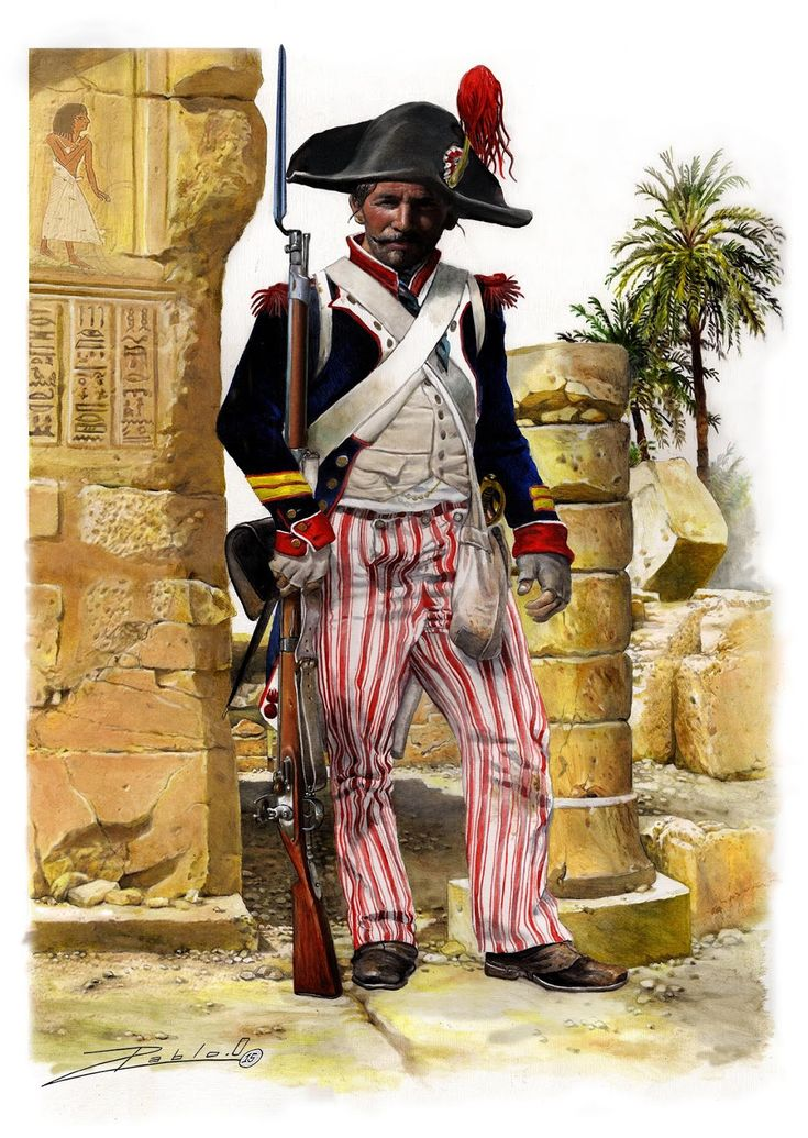 Sergeant-Major of a Demi-Brigade, French Infantry in Egypt, 1798-1801, by Pablo Outeiral.