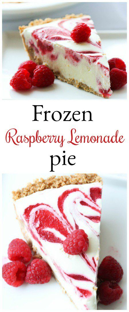 Easy Frozen Lemonade Pie from SixSistersStuff.com | Refreshing summer dessert recipe! Perfect for BBQs, family get togethers, and party food! | Raspberry Desserts