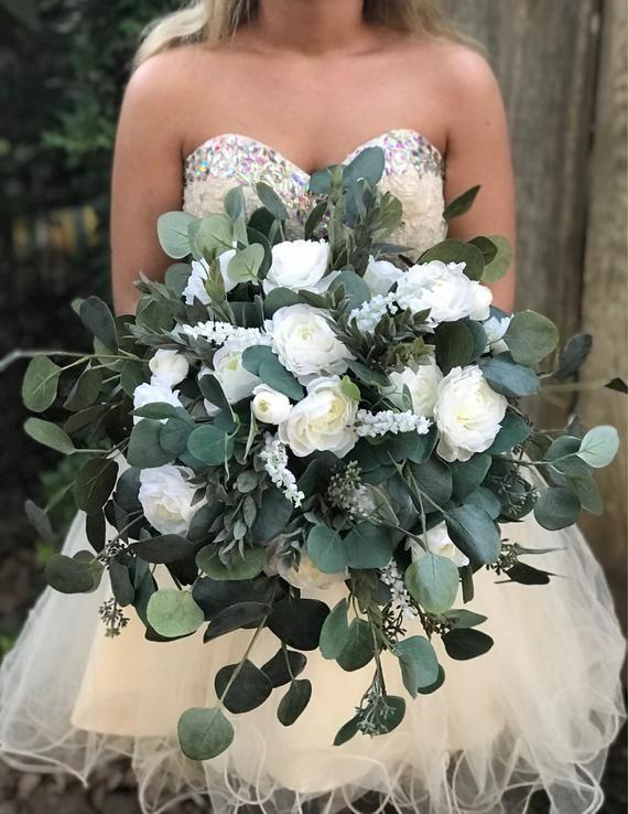 White Ranunculus Eucalyptus Bridal Bouquet White Ranunculus