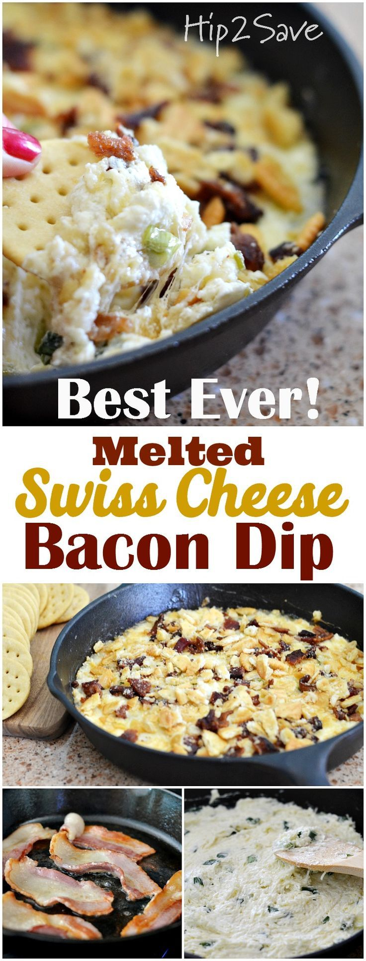 Easy 6 Ingredient Swiss Cheese Bacon Dip