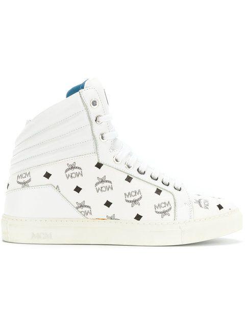 MCM printed hi-tops. #mcm #shoes #hi-tops