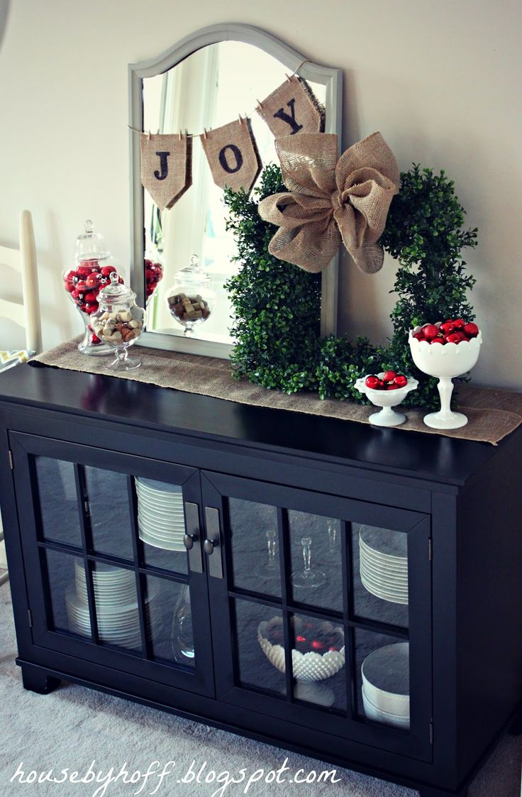 Simple & Festive Entranceway Decor--mirror w/mini burlap bunting, tabletop…