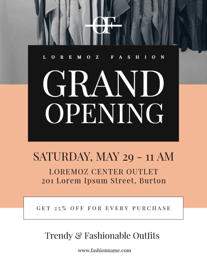 regal tailor grand opening flyer poster event social media post