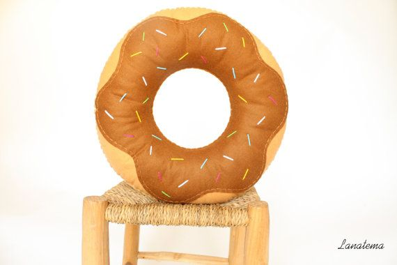 Brown felt donut cushion with chocolate glaze, hand sewn, no machine, made in Italy