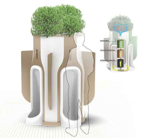 a public green toilet