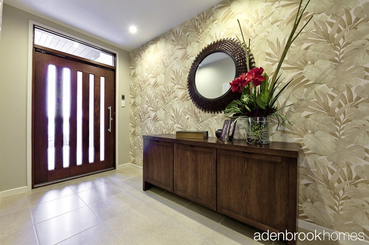 Entrance with feature wallpaper.
