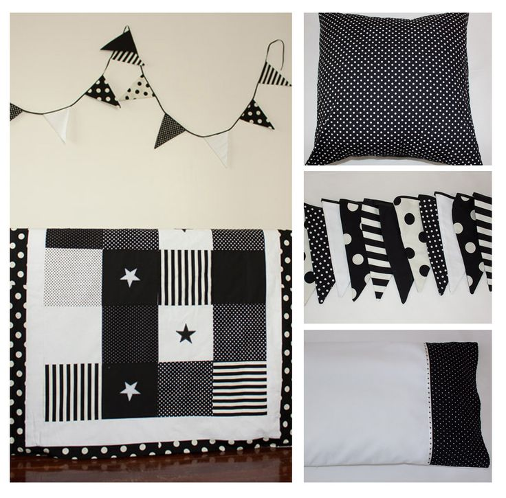 Black and White baby bedding and nursery decoration by Erie's Boutique