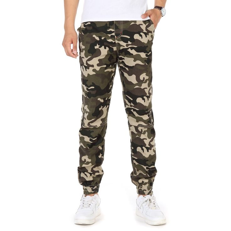 Man Casual Camouflage Jogger Pants Lacing Up Draw Cord Elastic Waist Trouser Men Ankle length Ninth. Click visit to buy #SkinniPants