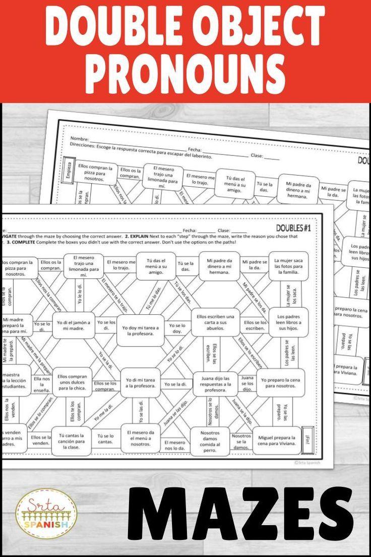 Double Object Pronoun Spanish Maze Practice Activity With Digital Option Spanish Lesson Plans High School Spanish Subjunctive Spanish