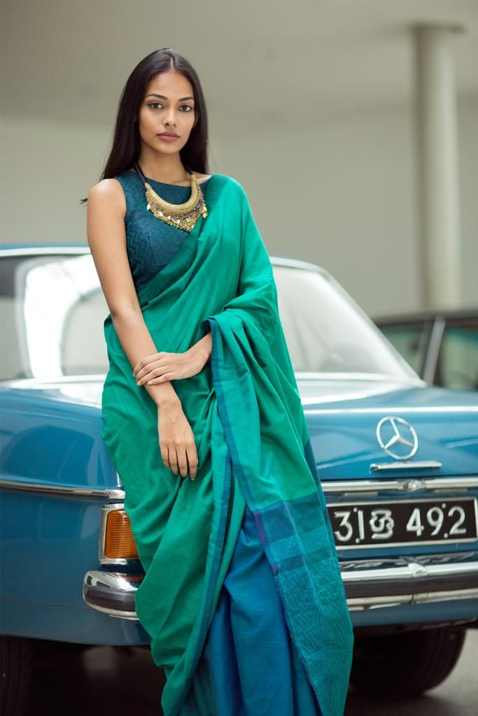 This Saree is an ideal piece to your workwear wardrobe.The tones of Green & black is keeping you Young &  fresh through out the day.Style it with Minimal Gold/bronze jewellery of your choice   These sarees are part of a special collection and each unique and will each have individual variations from the photo but follow the same concept.