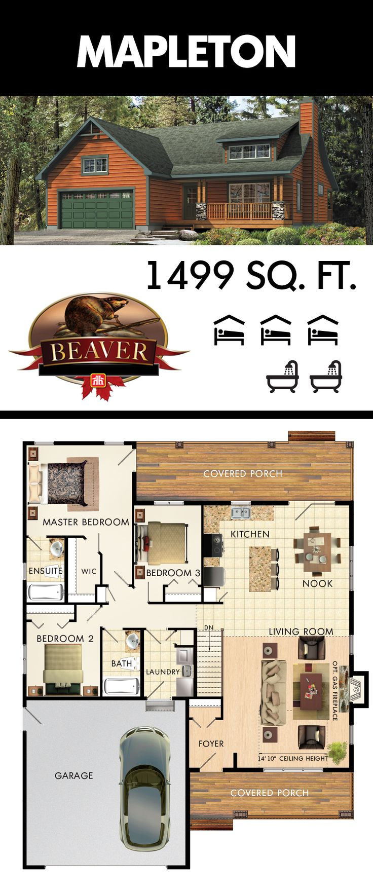 The first thing you notice when entering the Mapleton model is the towering 14' ceilings and overhead windows, adding the perfect amount of natural light. #BeaverHomesAndCottages