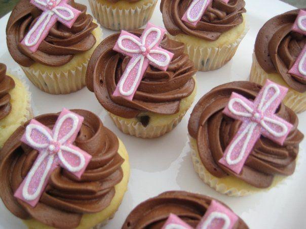 Adornos Para Primera Comunion | Cupcakes Rosados Para Primera Comunión