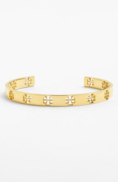 Free Shipping And Returns On Tory Burch Logo Cutout Skinny Cuff At Nordstrom Signature Ts Are Punched Out Along A Slender