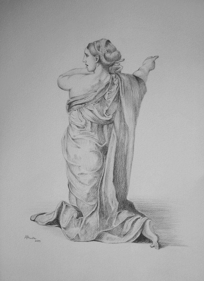 Estudio según Raphael Sanzio. Lápiz sobre papel.
