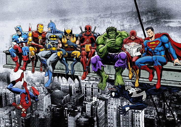 Breakfast Of Champions: Marvel & DC Superheroes Lunch Atop A Skyscraper by Dan Avenell.