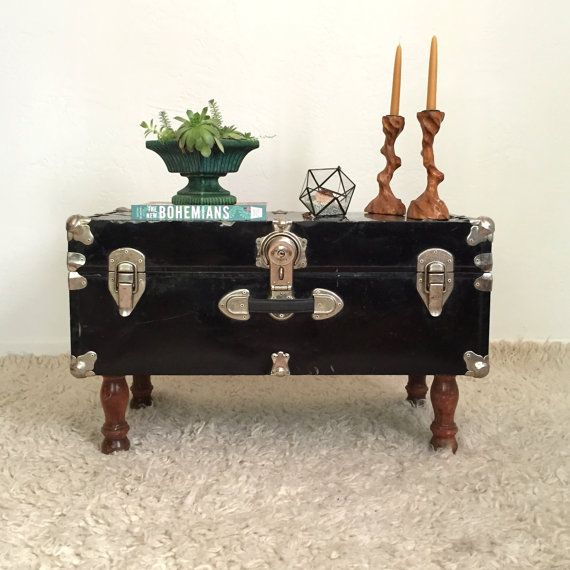 Upcycled Trunk Table Black Steamer Trunk Coffee Table Furniture Trunk Table Steamer Trunk