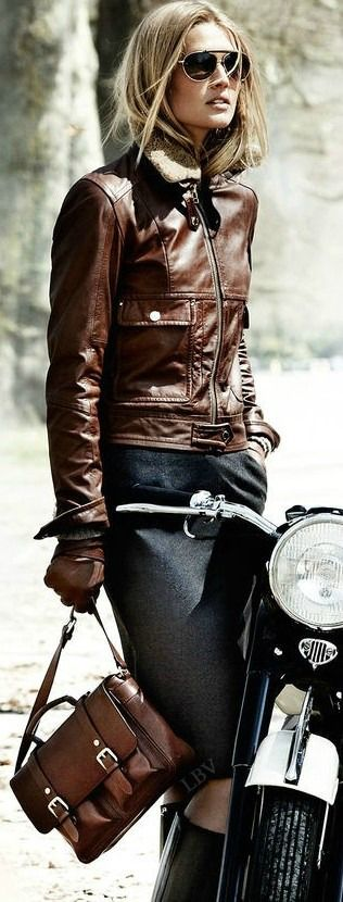 Brown leather jacket wear with