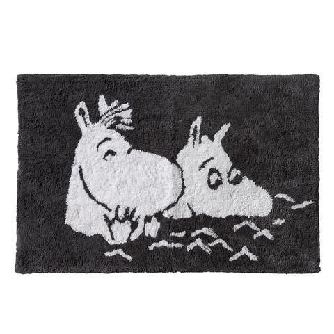 Moomintroll and Snorkmaiden bathing bathroom rug grey by Finlayson
