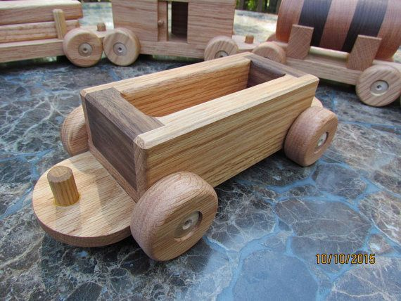 Train set 6 car Wooden Handmade toy Large oak and by mikebtoys
