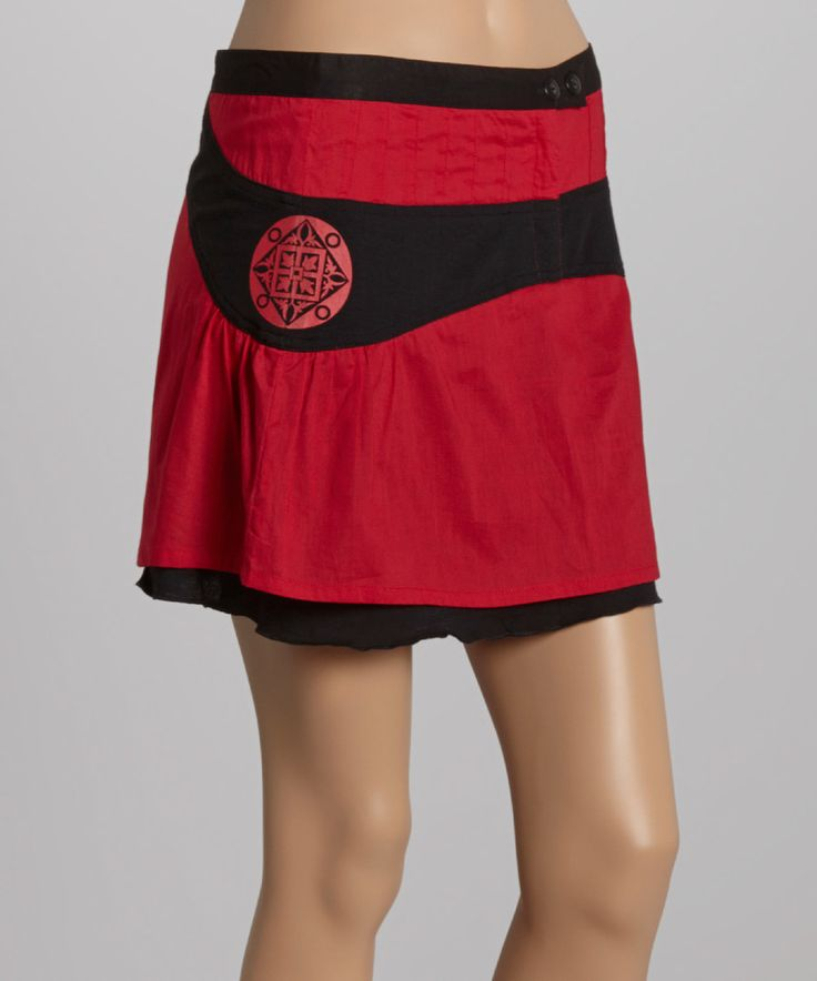 Look at this Coline USA Red & Black Skirt - Women on #zulily today!