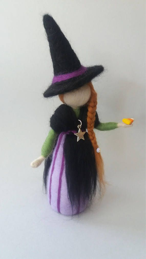Needle felted waldorf inspired doll witch.Autumn