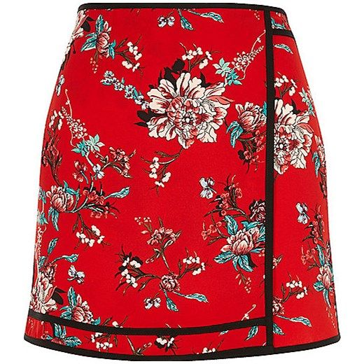 Red floral print mini skirt   River Island