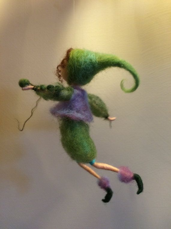 Needle felted elf, Waldorf inspired, Wool Fairy, Green Pea, Green elf, Green, Home decor, Dwarf, Gift, Doll miniature, Art doll