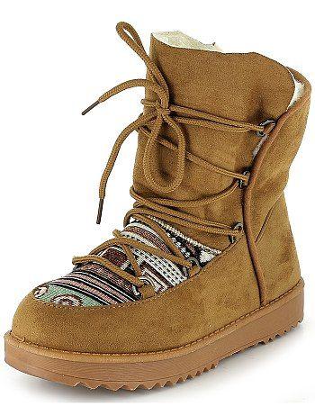 Boots fourrées à lacets imprimé ethnique                                          camel Femme  - Kiabi