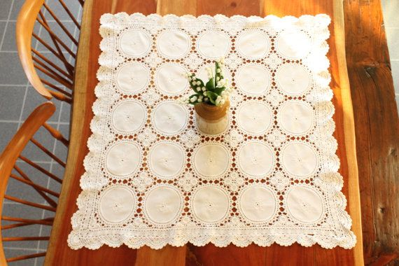 Square Tablecloth Square Crochet Table Cloth by ClockworkRummage