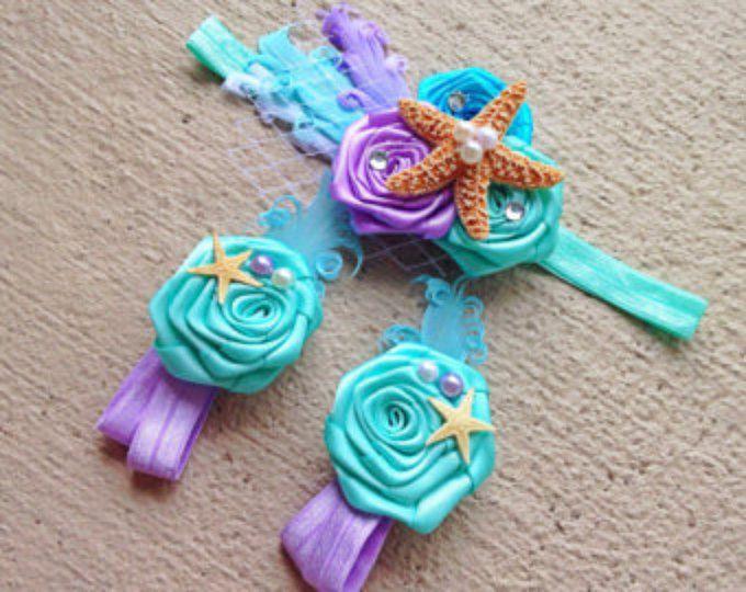 Venda de sandalias pies descalzos del bebé sirena Set - bajo los pétalos alcancía mar - diadema de estrellas de mar - apoyos de la foto - traje de cumpleaños de bebé niña