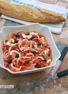 Ensalada Murciana* 1 bote de tomates pera, cebolleta, atun, aceitunas negras