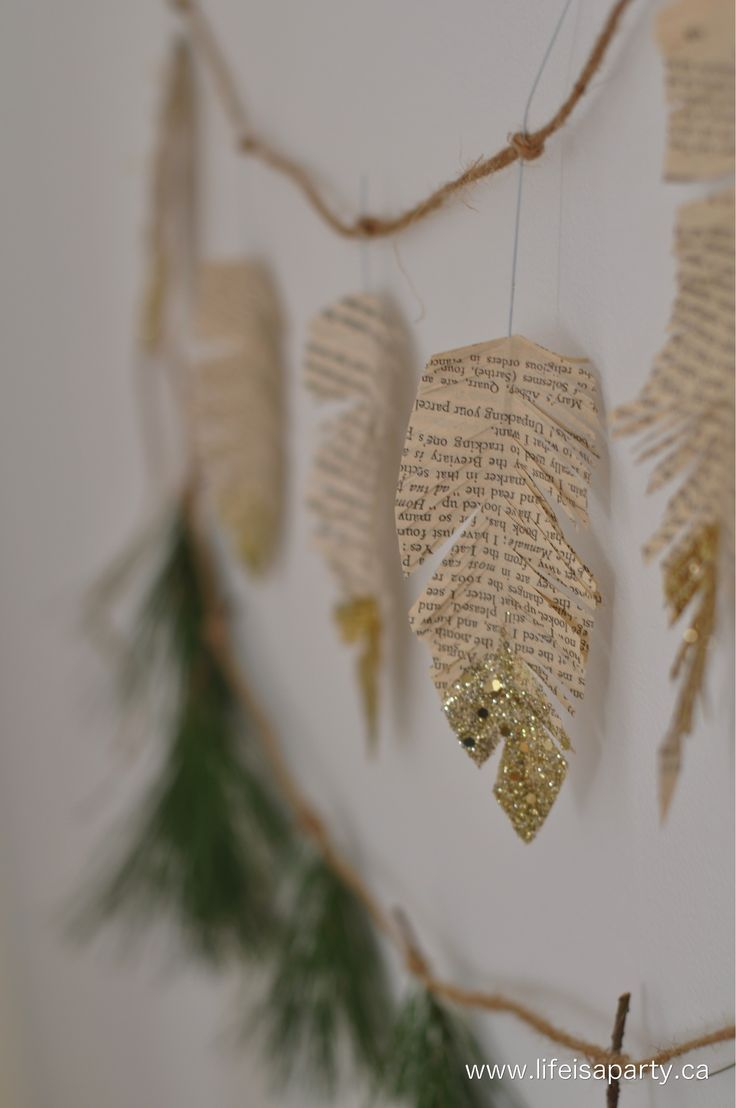 How To Make Book Pages Feathers With A Touch Of Glitter! What a fun and easy DIY project for big people and even little people to make!