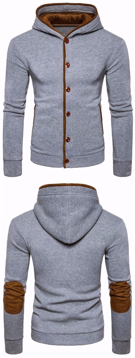 Suede Panel Button Up Elbow Patch Hoodie